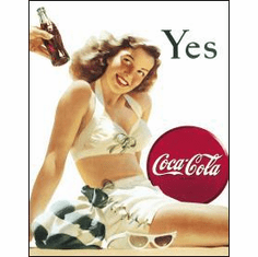 COKE - White Bathing Suit Tin Sign
