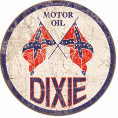 Dixie Gas - Weathered Round Tin Signs
