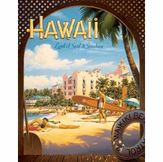 Erickson - Hawaii Sun and Surf Tin Sign