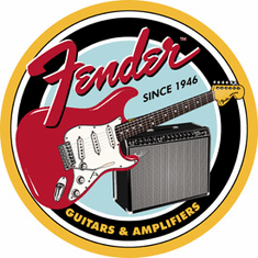 Fender Round G&A Tin Signs