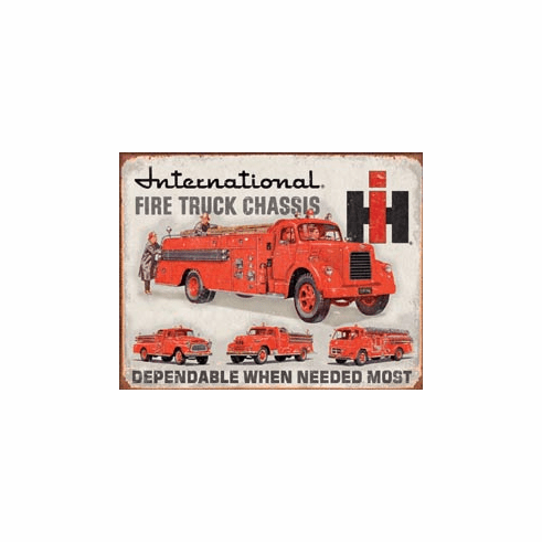 International Fire Truck Chassis Tin Signs
