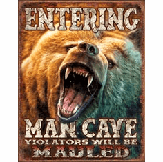 Man Cave - Grizzly Tin Signs