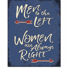 Men to the Left Tin Signs