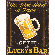 Moore - Lucky's Bar Tin Sign