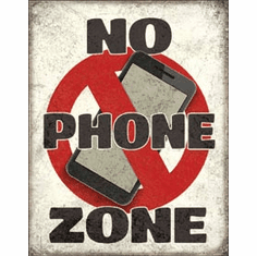 No Phone Zone Tin Signs