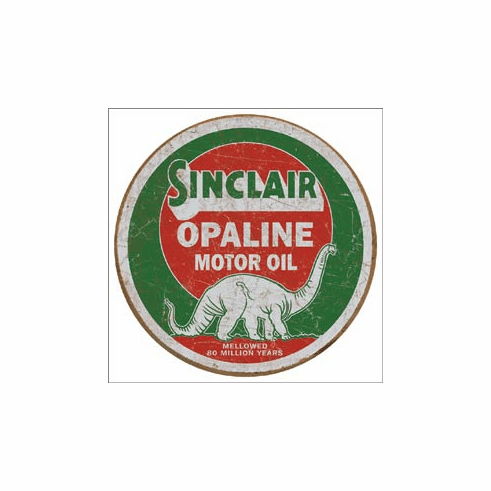 Sinclair Opaline Round Tin Signs