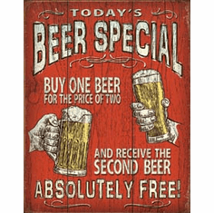Today's Beer Special Tin Signs