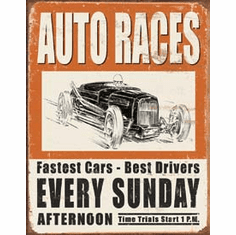 Vintage Auto Races Tin Signs