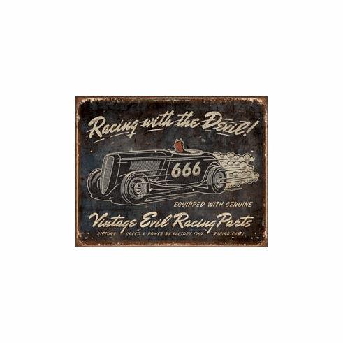 Vintage Evil Racing Tin Signs