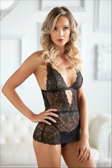 Allure 17-3002 Dahlia Lace Chemise with G-String