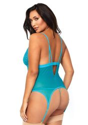 Mesh And Stretch Lace Cami With G-String
