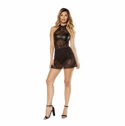 2 Piece Lace Haltered Neck Dress and High Waisted Shorts
