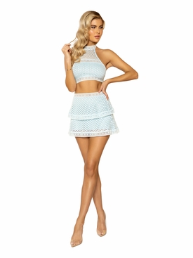 2pc High-Waisted Lace Panel Tiered Skirt & Cropped Top