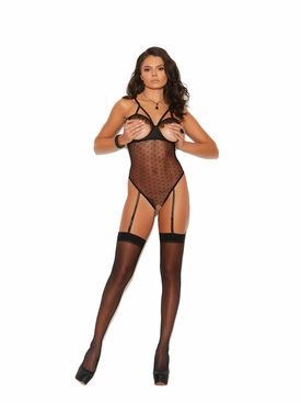 Elegant Moments 77072 Cupless Dotted Mesh Teddy