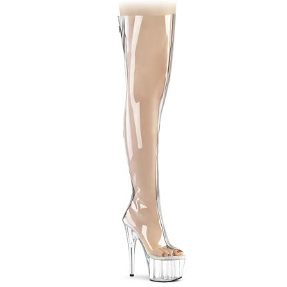 Pleaser Adore-3021 Clear Open Toe Thigh High Boot