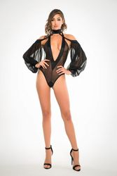 Adore A1021 Fishnet Bodysuit With Hoodie