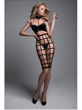 Adore A1034 Luscious Cage Skirt With Provocative Lace Bra