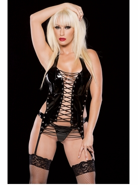 Allure 11-0167 Vinyl Lace Up Corselette