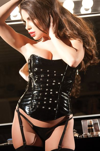 Allure 11-1907 Sexy Hot Black Vinyl Corset Size Med