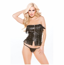 Allure 11-3005 Faux Leather Corset Top with G-String