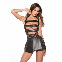 Allure 117-2042K Daring Vinyl and Lace Halter Dress