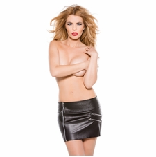 Allure 13-1005 Faux Leather Zipper Skirt