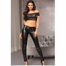 Allure 16-1055 Fitted Faux Leather Lace-Up Pants