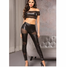 Allure 16-2502 Wet-Look Cutaway Mesh Leggings