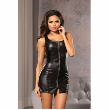 Allure 17-1035 Faux Leather Sleeveless Mini Dress