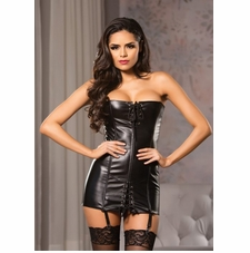 Allure 17-1055 Faux Leather Strapless Corset Dress