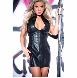Allure 17-1402 Faux Leather Studded Dress
