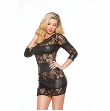 Allure 17-3082K Lace and Wet Look Dress