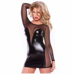 Allure 17-5602K Wet Look Mesh Dress