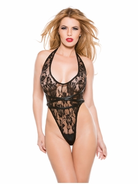 Allure 4-6502K Kitten Lace Halter Teddy