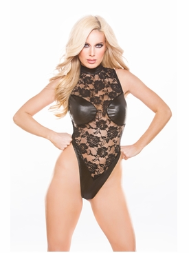 Allure 4-8602K Lace & Wet Look Teddy
