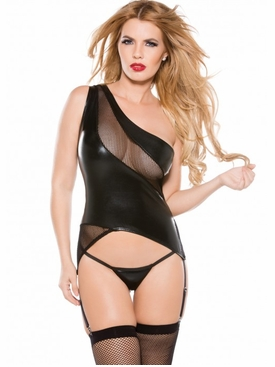 Allure 5-8602K One-Shoulder Wet Look Bustier