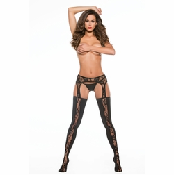 Allure 7-4602K Lace & Wet Look Garter Tights