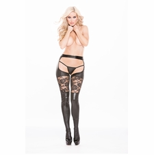 Allure 7-6602K Kitten Wet Look Garter Tights