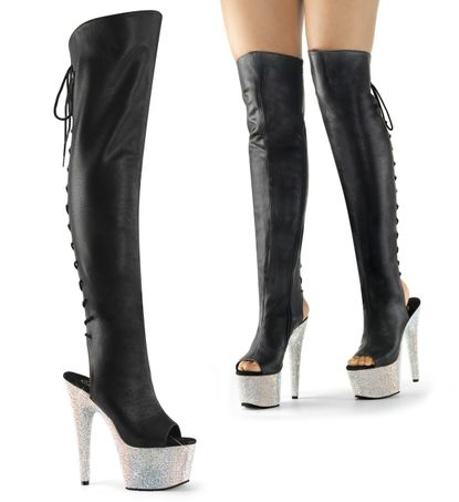 Pleaser Bejeweled-3019DM-7 Exotic Dancer Thigh High Boot