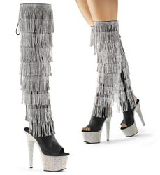 Pleaser Bejeweled-3019RSF-7 Thigh High Boot With R/S Fringe