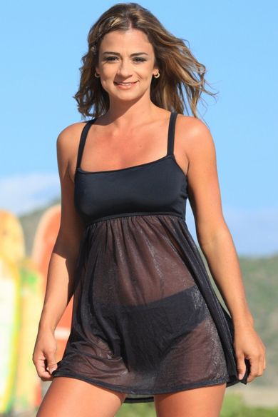 Ujena Black Sheer Swim Dress