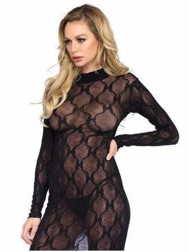 Bow Lace Long Sleeved Body Con Dress