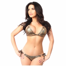 Bronze Glitter Rhinestone Pucker Back Bikini Bathing Suit