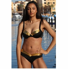 Calypso Goddess Black/Gold Bikini Bathing Suit