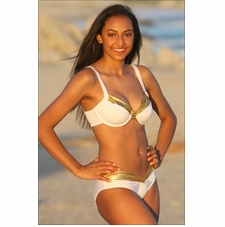 Calypso Goddess White/Gold Bikini Bathing Suit