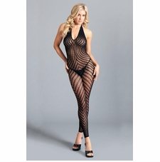 Crotchless Halter Bodystocking With Scoop Back