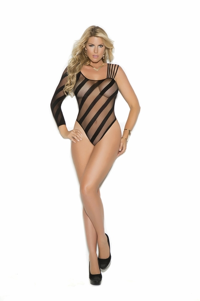 Plus Size Elegant Moments 1359Q Sheer Burnout Teddy