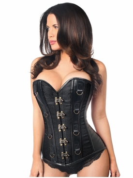 Daisy Black Brocade & Faux Leather Steel Boned Corset