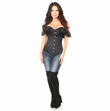 Daisy Black Cotton Off-The-Shoulder Corset