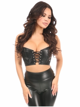 Daisy Black Faux Leather Lace-Up Short Bustier Top
